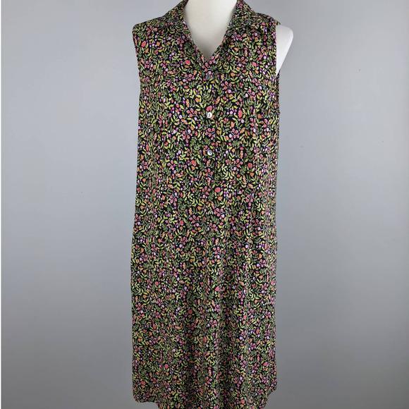 J Jill Sheath Medium Maxi Sleeveless Floral Dress